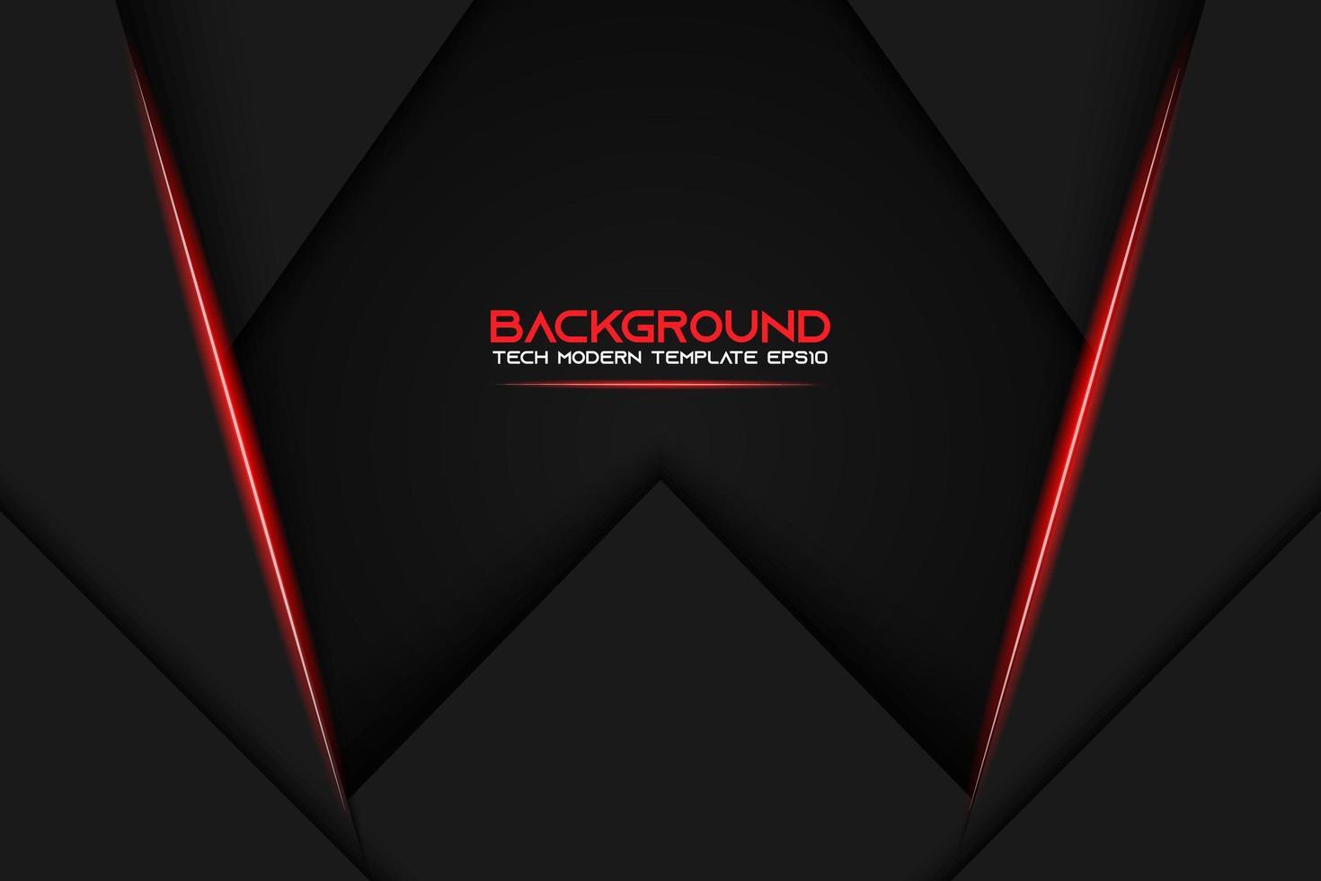 svart lager triangelbakgrund med glödande röda ränder vektor