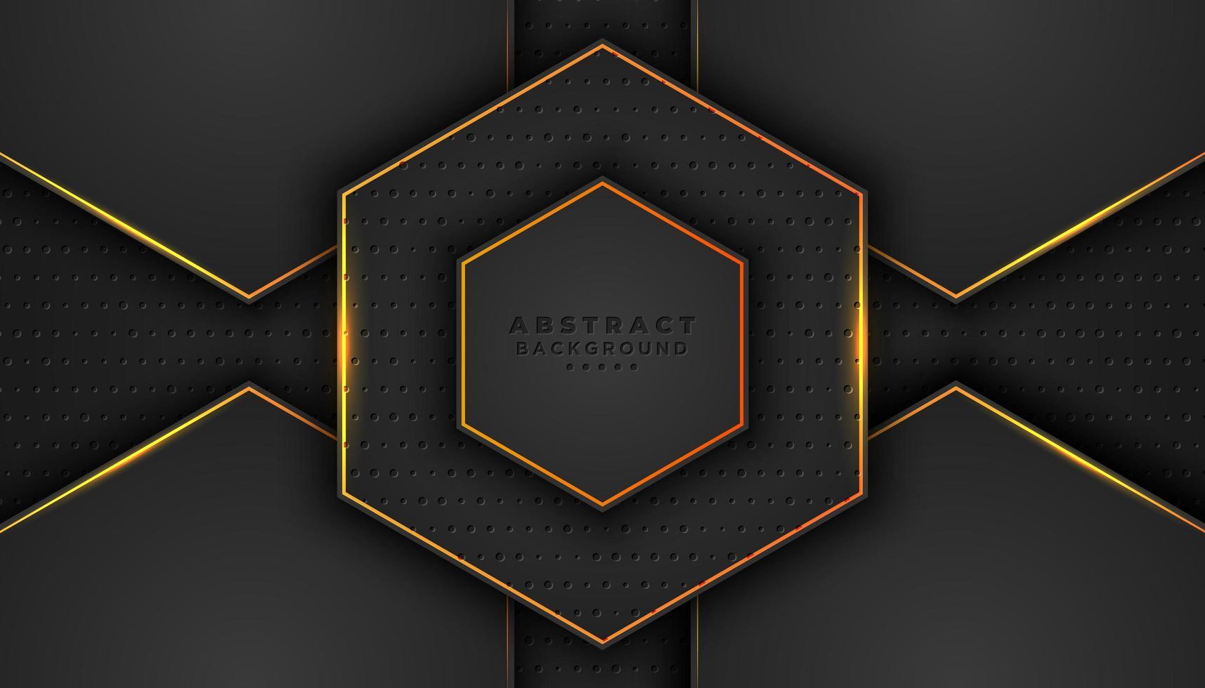mörk 3d hexagon bakgrund med orange konturer vektor