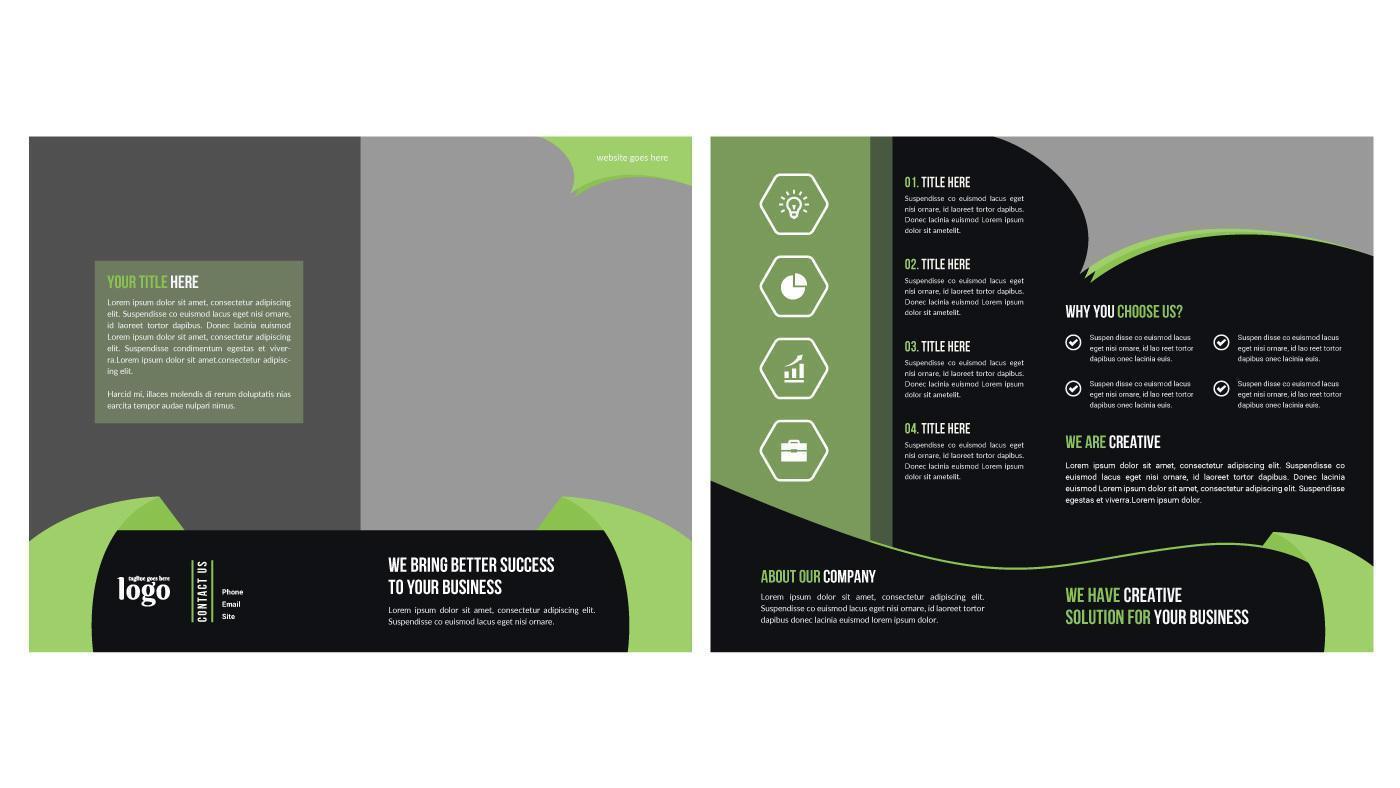 grön och svart dynamisk bifold affärsbroschyrmall vektor