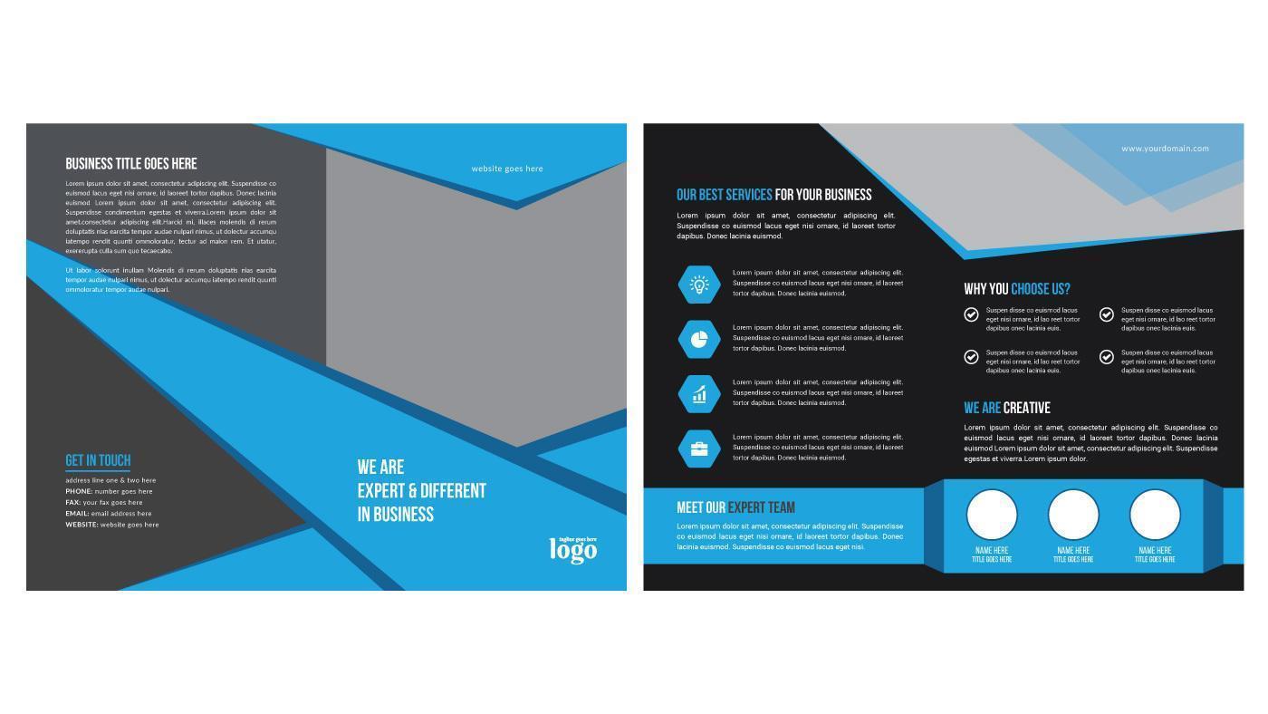 blaues und schwarzes modernes abgewinkeltes Broschürendesign vektor