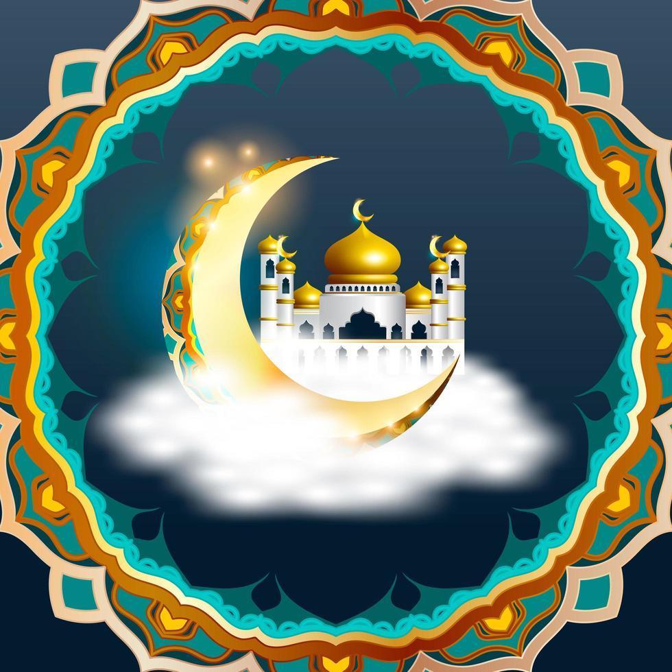 ramadan kareem design med arabisk moské i halvmånen vektor