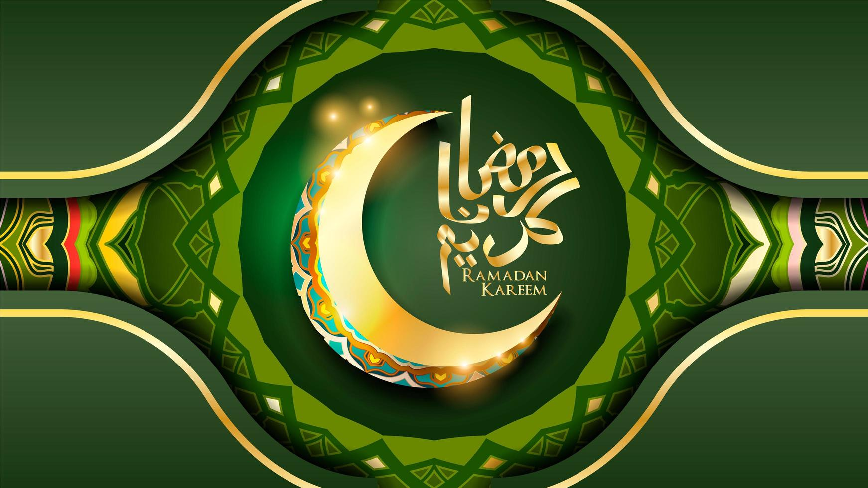 ramadan kareem islamisk halvmåne bakgrund vektor