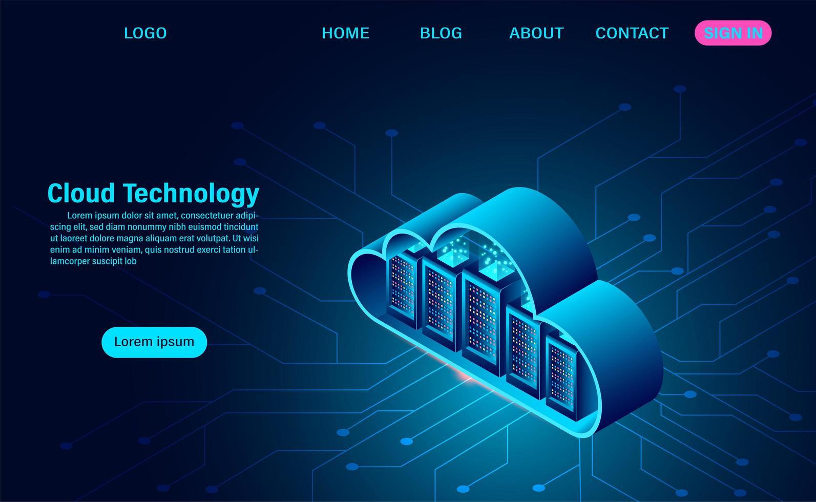 målsida för molnteknologi vektor