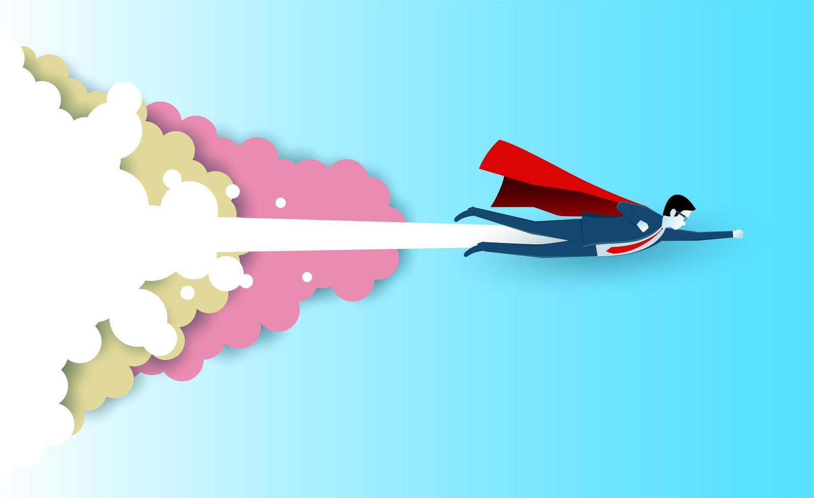 Superheld Geschäftsmann fliegt in den Himmel vektor