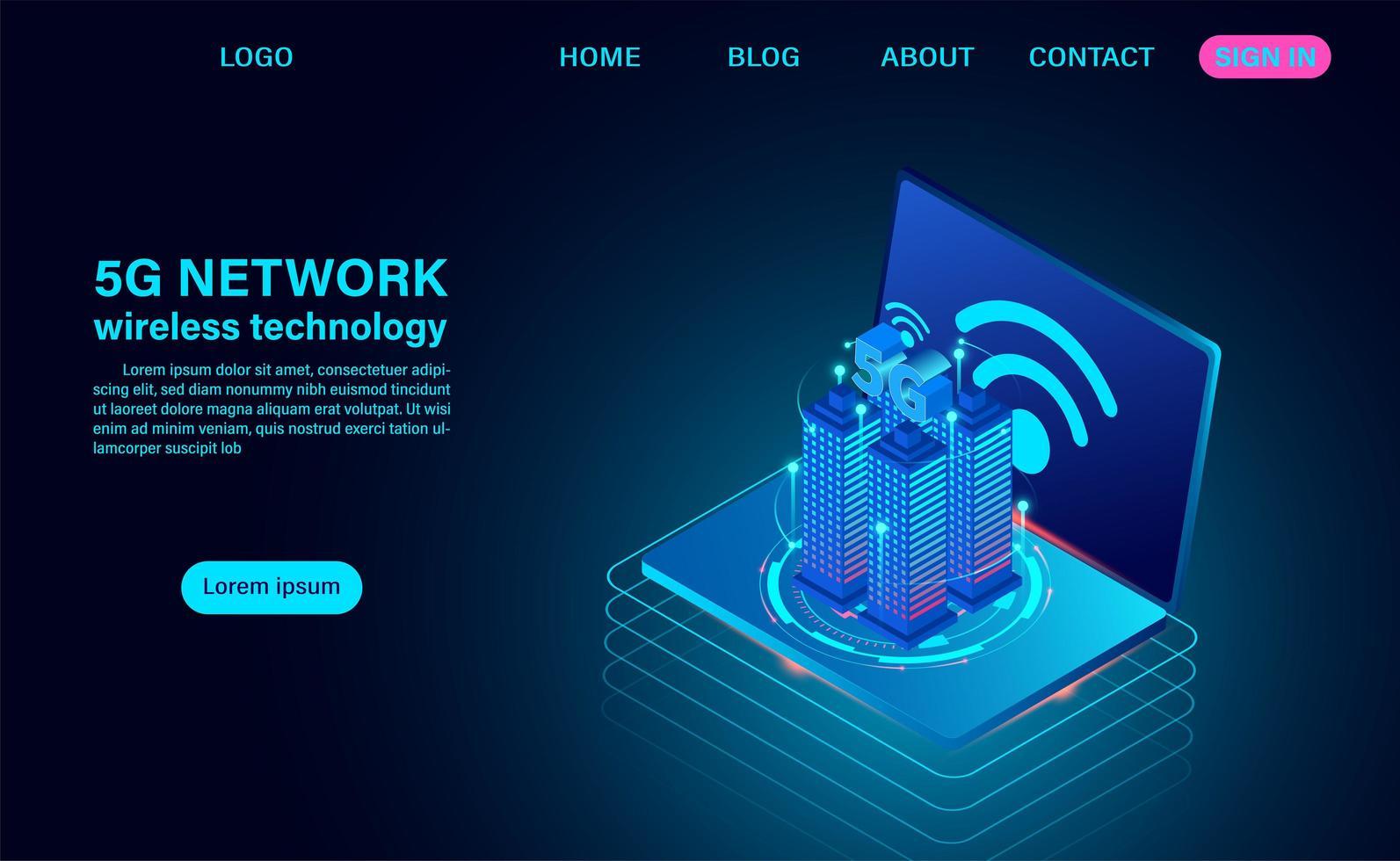 smart city-koncept med 5g-symbol för trådlöst internet vektor