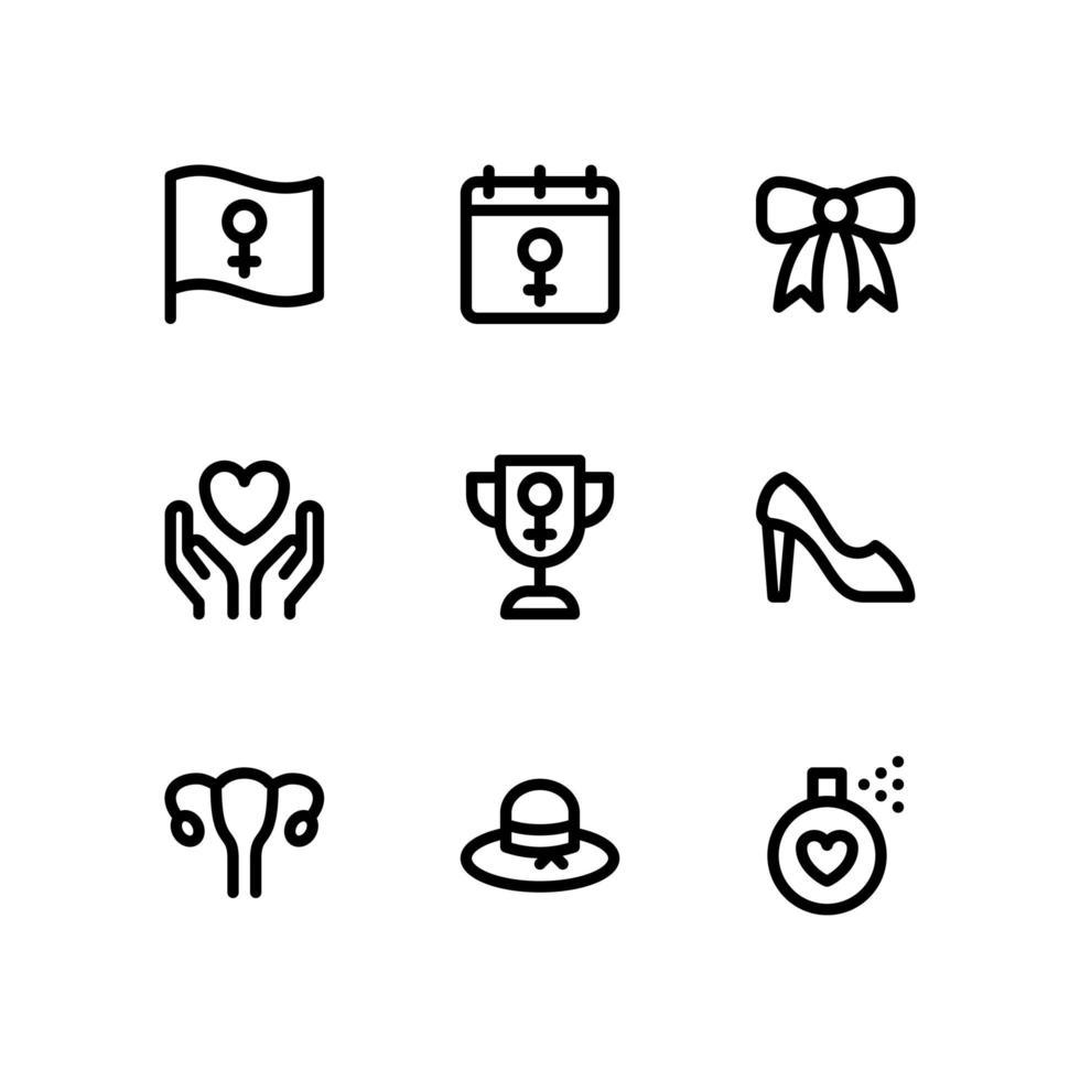 Frauentagsikonen einschließlich Flagge, Kalender und mehr vektor