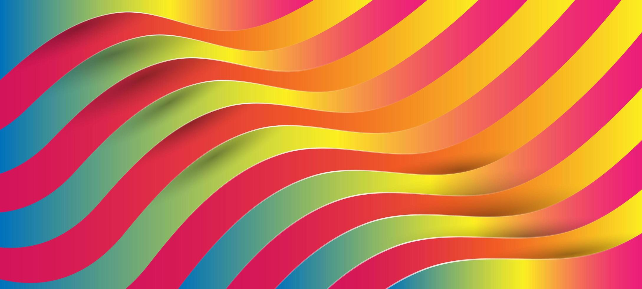färgglada vågiga mönster med kontur och skugga vektor