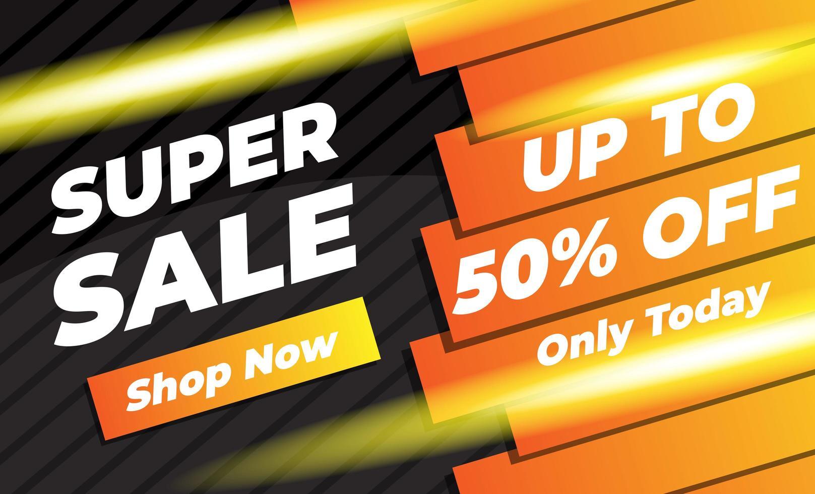 orange und schwarz leuchtendes Super Sale Banner vektor