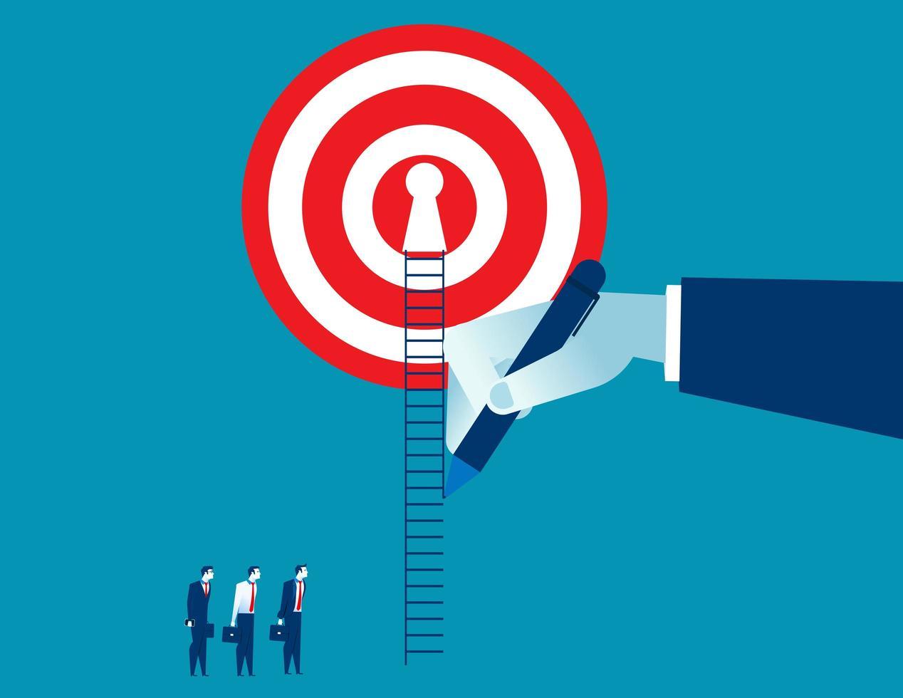 Hand gezeichnet Weg für Geschäftsmann zum Erfolg vektor