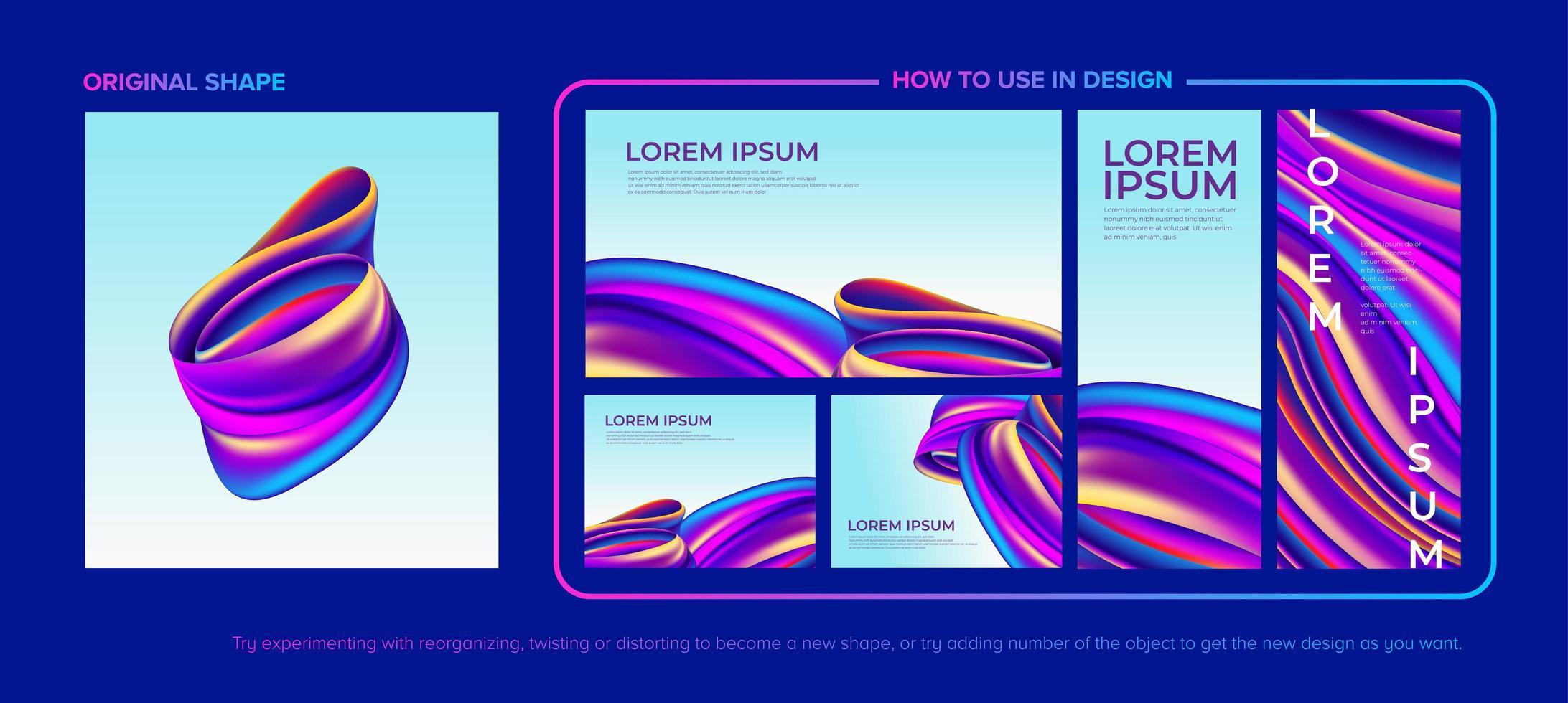 abstrakt färgglada flytande design pack vektor