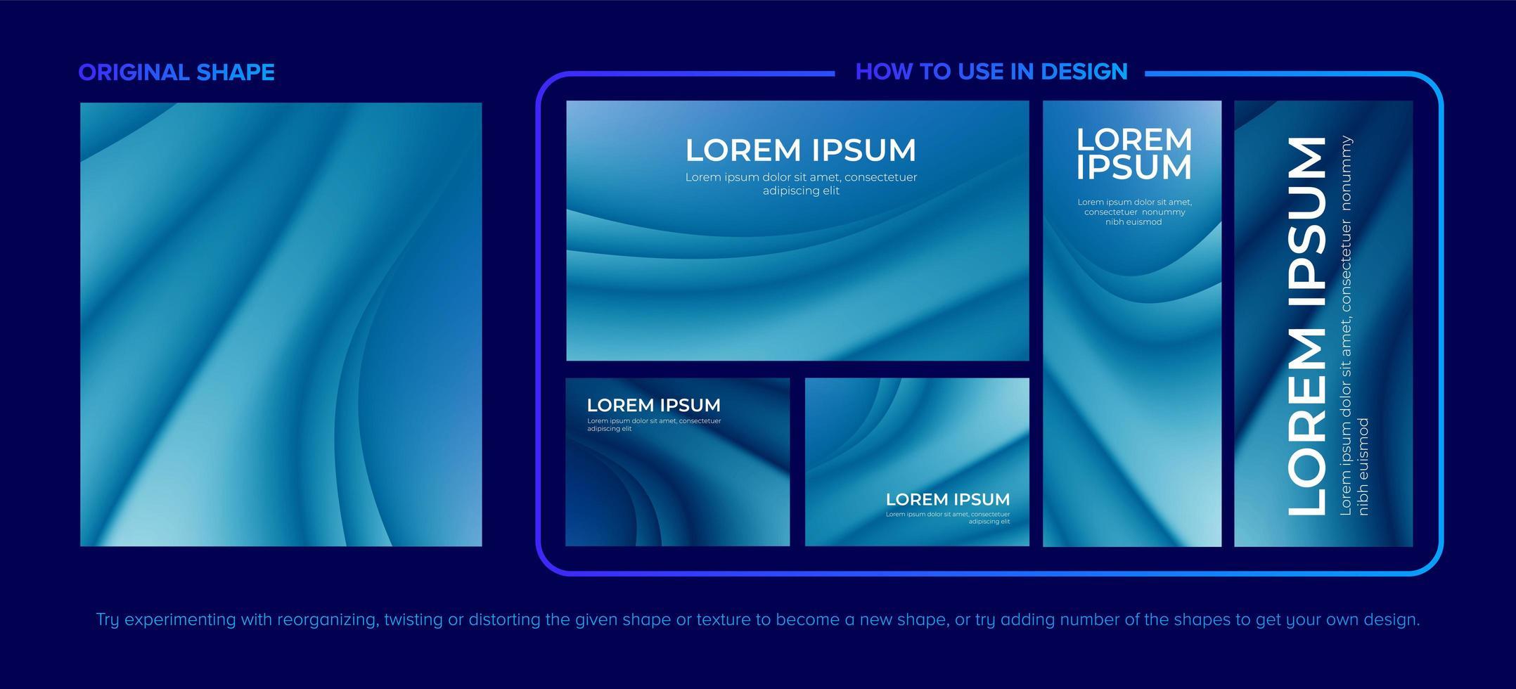 blå abstrakt kurviga mönster designuppsättning vektor