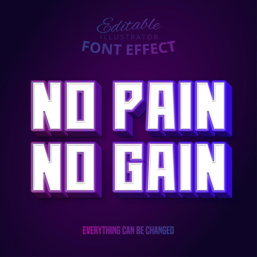 ingen smärta ingen vinsttext, redigerbar texteffekt. vektor