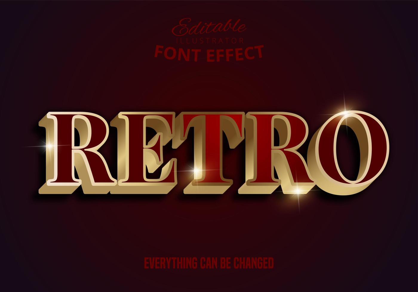 Retro rot und gold bearbeitbare Schriftart vektor