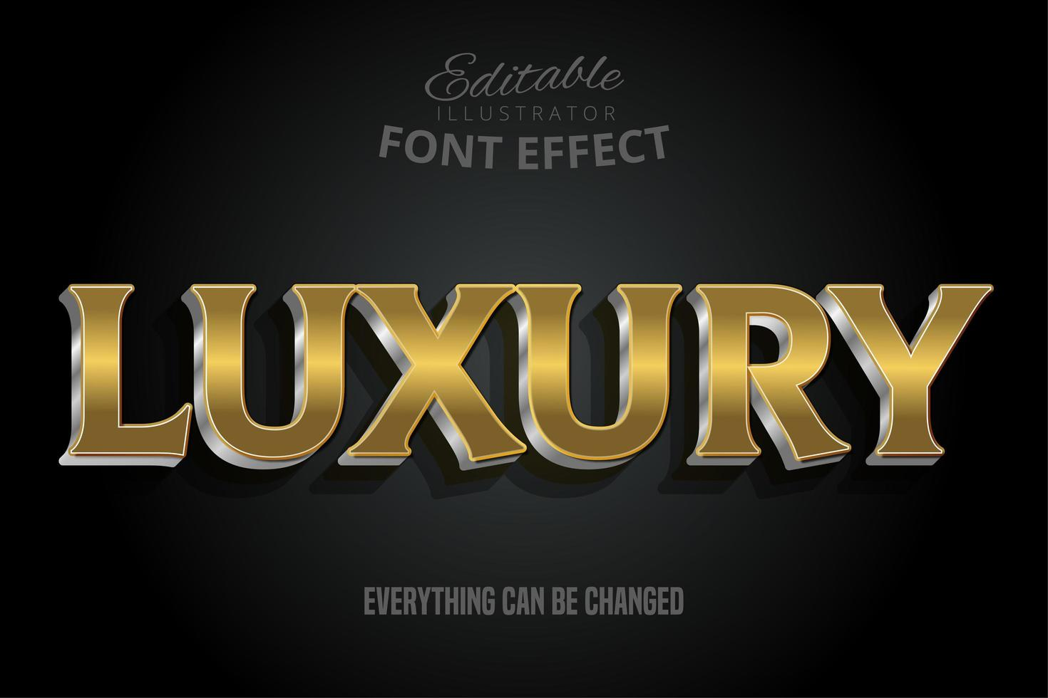 Luxus Gold Text Effekt mit Silber Extrudieren vektor