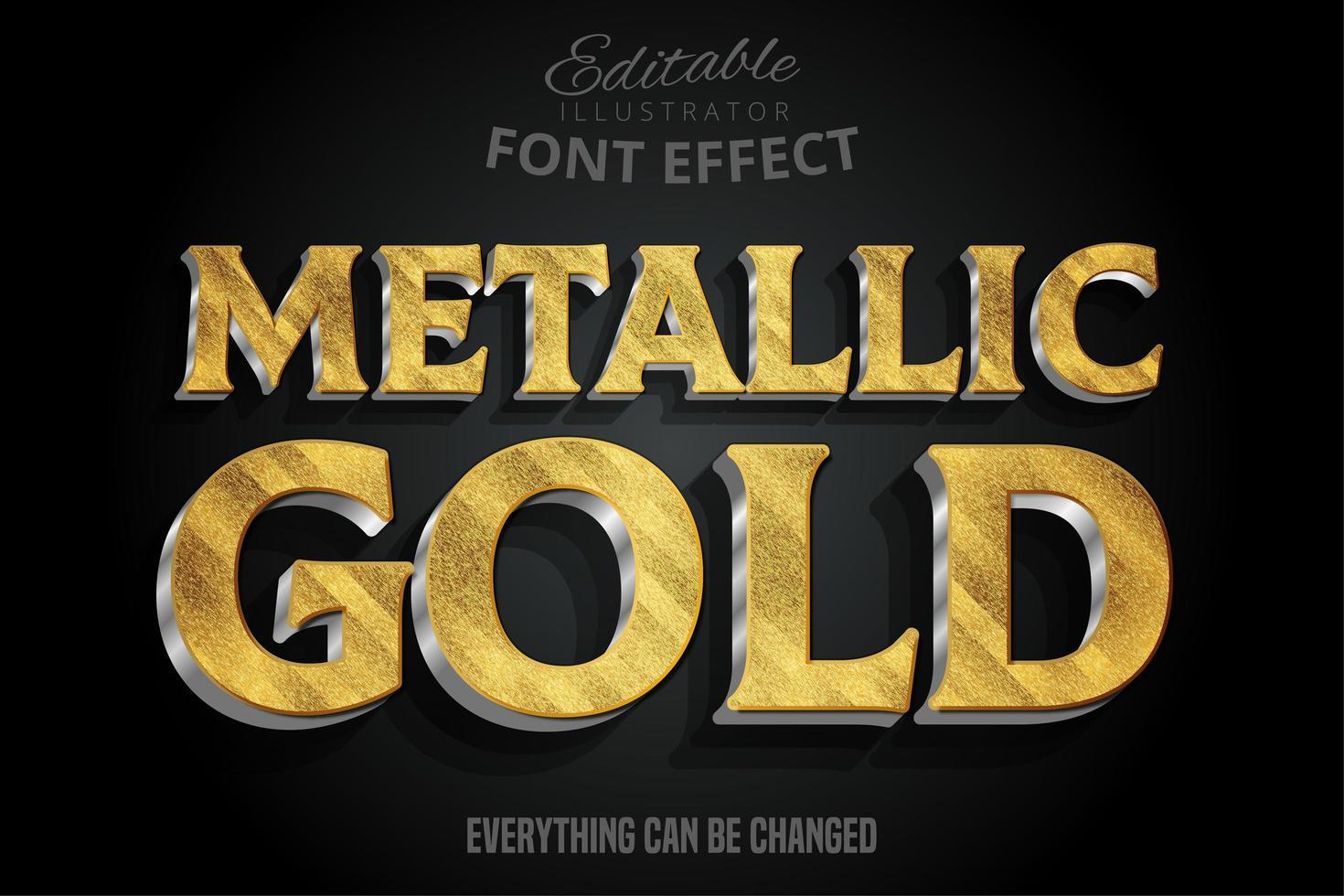 metalliskt guld 3d teckensnitt vektor