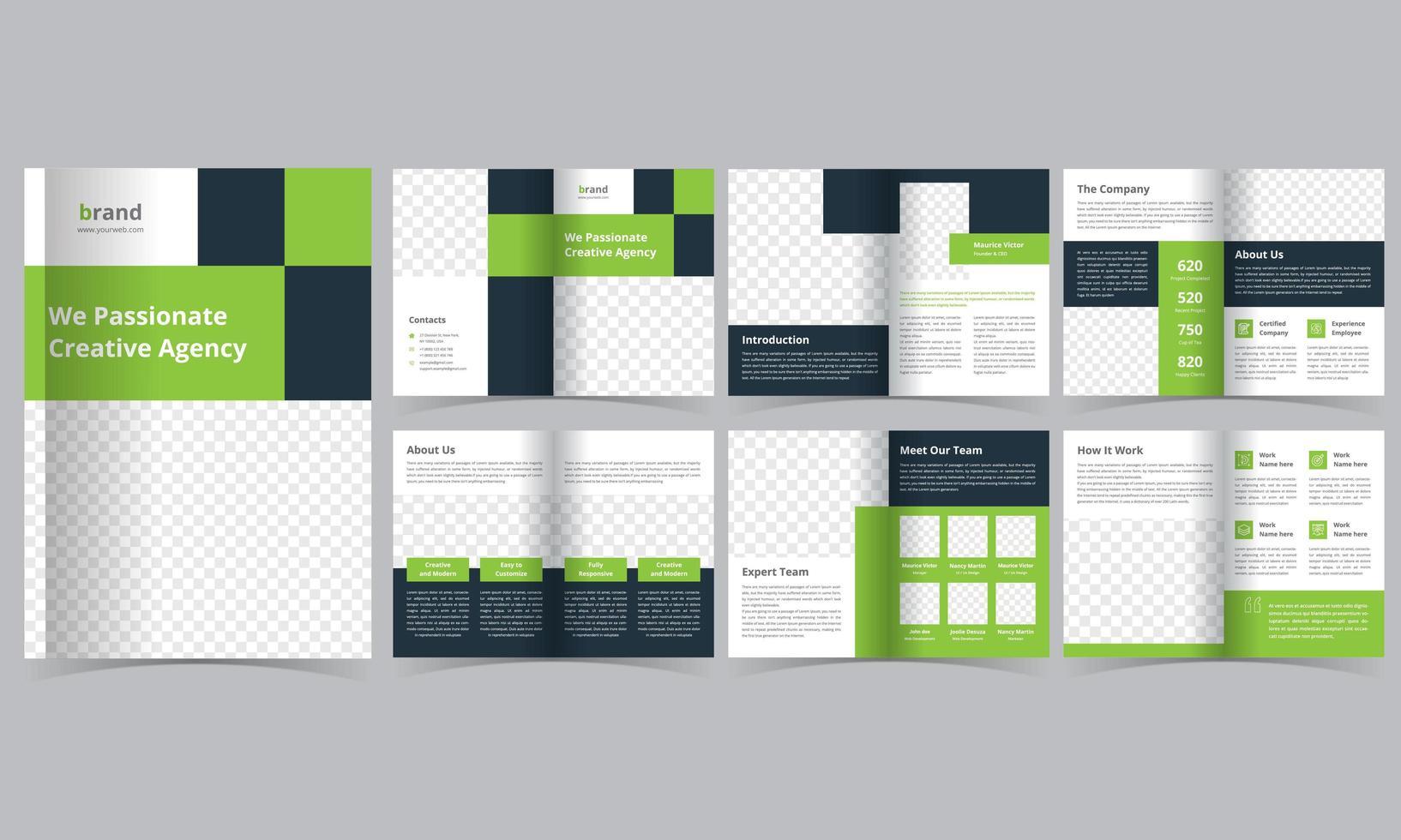 grünes geometrisches Lookbook-Layout vektor
