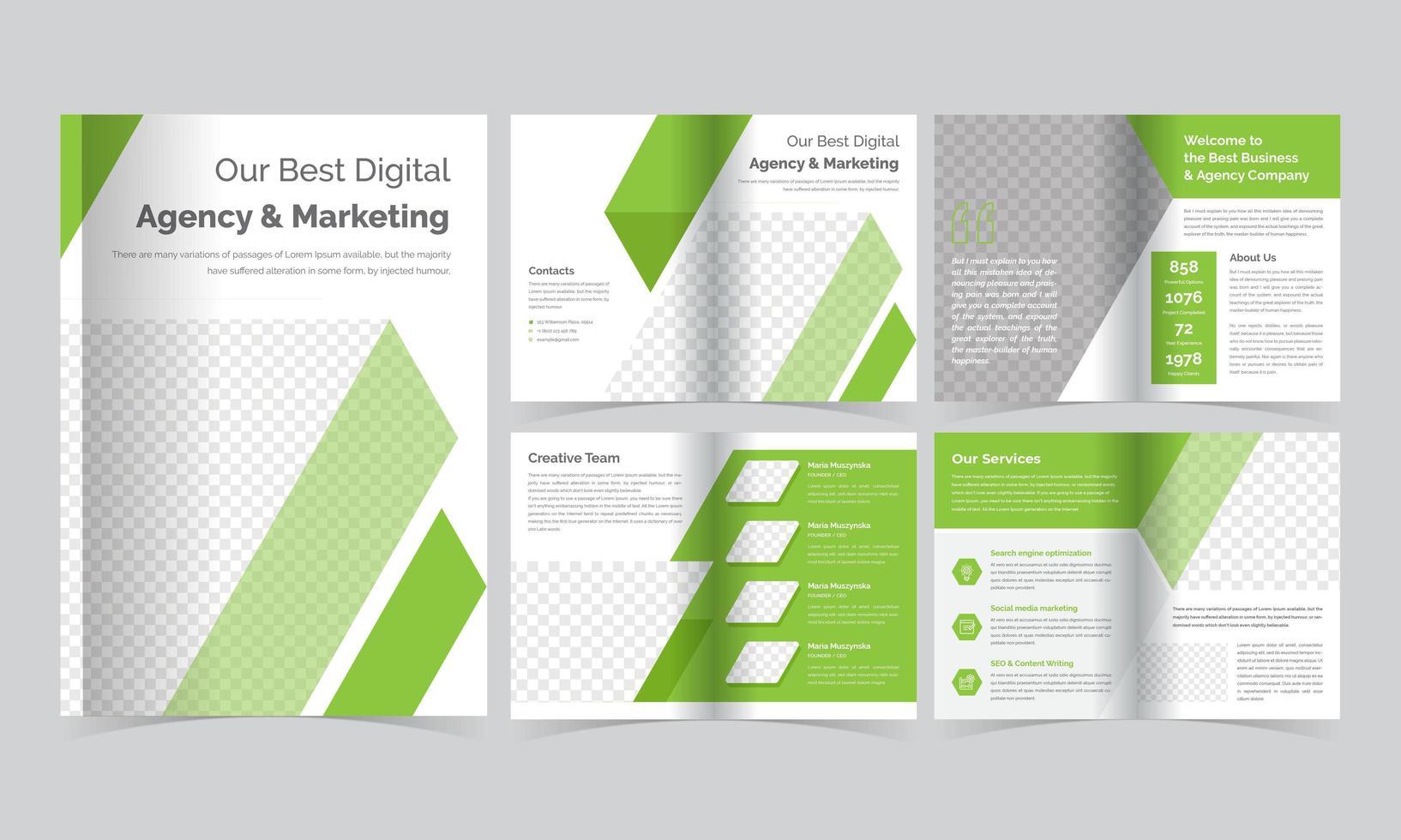 grön diagonal randig broschyrmall vektor