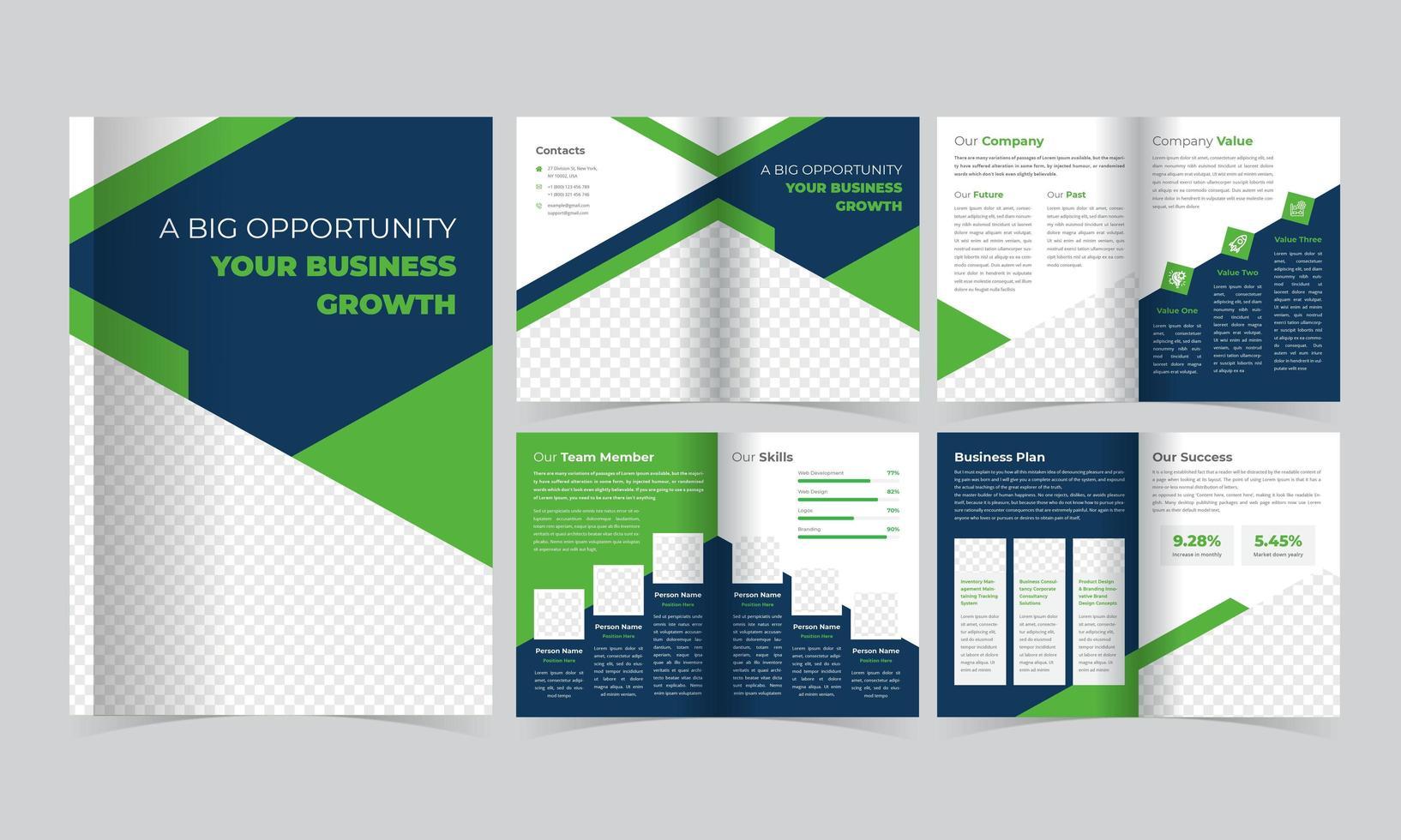 grön och blå broschyrmall med triangeldetaljer vektor