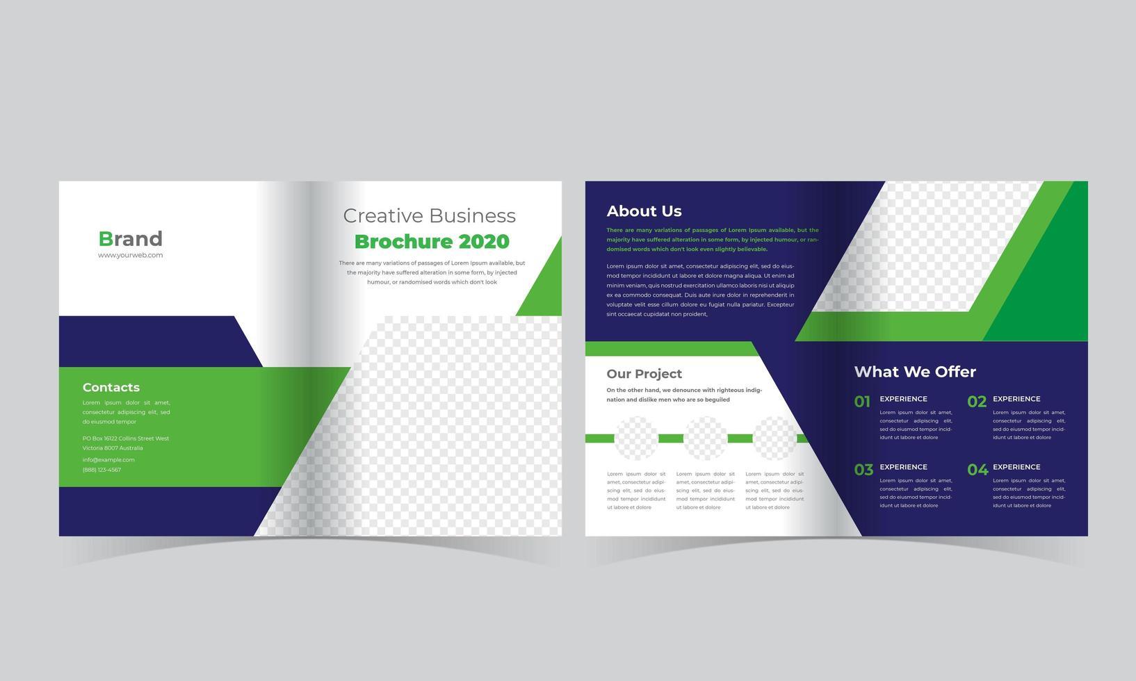 zweifache Broschüre mit grünem und blauem Winkel vektor