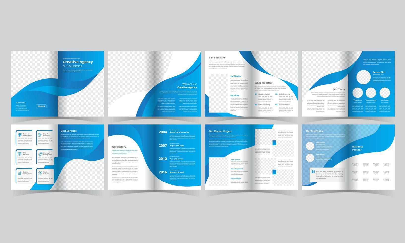 blå och vit broschyr med böjda detaljer vektor