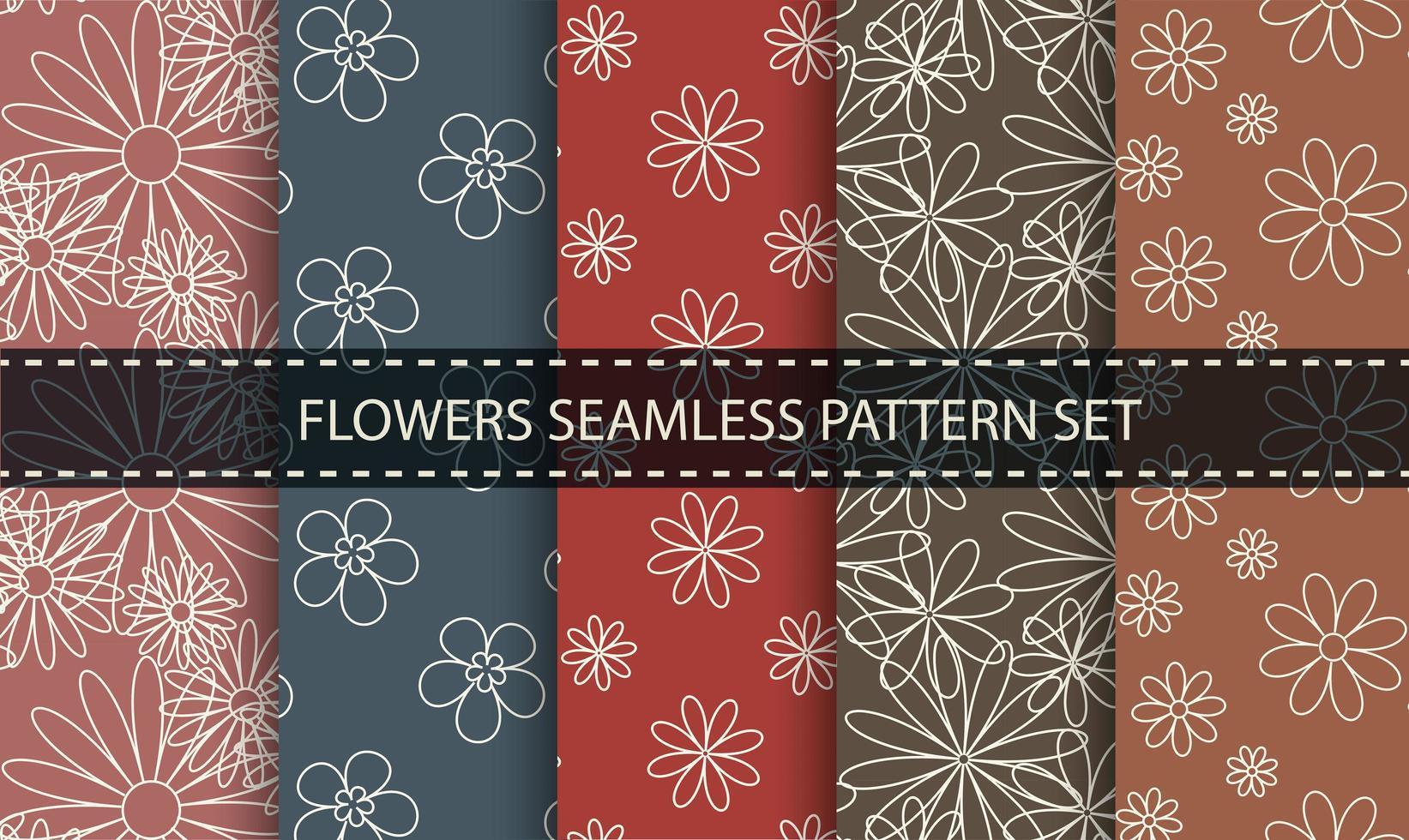 blomma disposition sömlös mönsteruppsättning. vektor