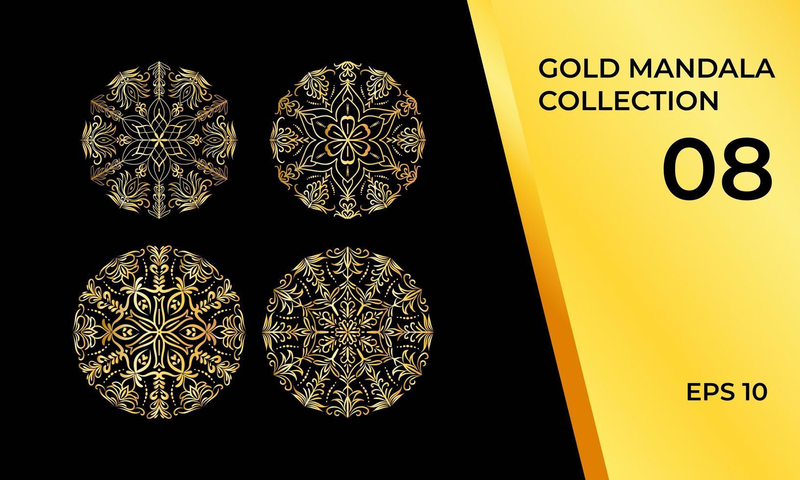 mandalas i guld eller gul uppsättning vektor