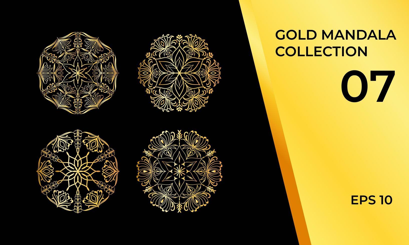 detaljerat gyllene mandala-paket med 4 vektor