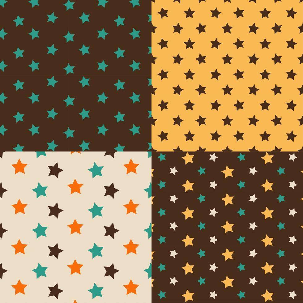 stjärnor brun och gul sömlös uppsättning vektor