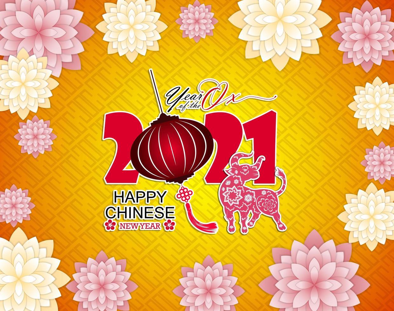 kinesiskt nytt år 2021 gul affisch vektor