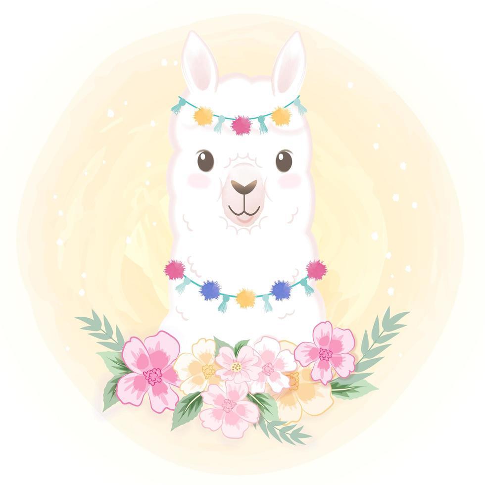 Lama mit Blumen vektor
