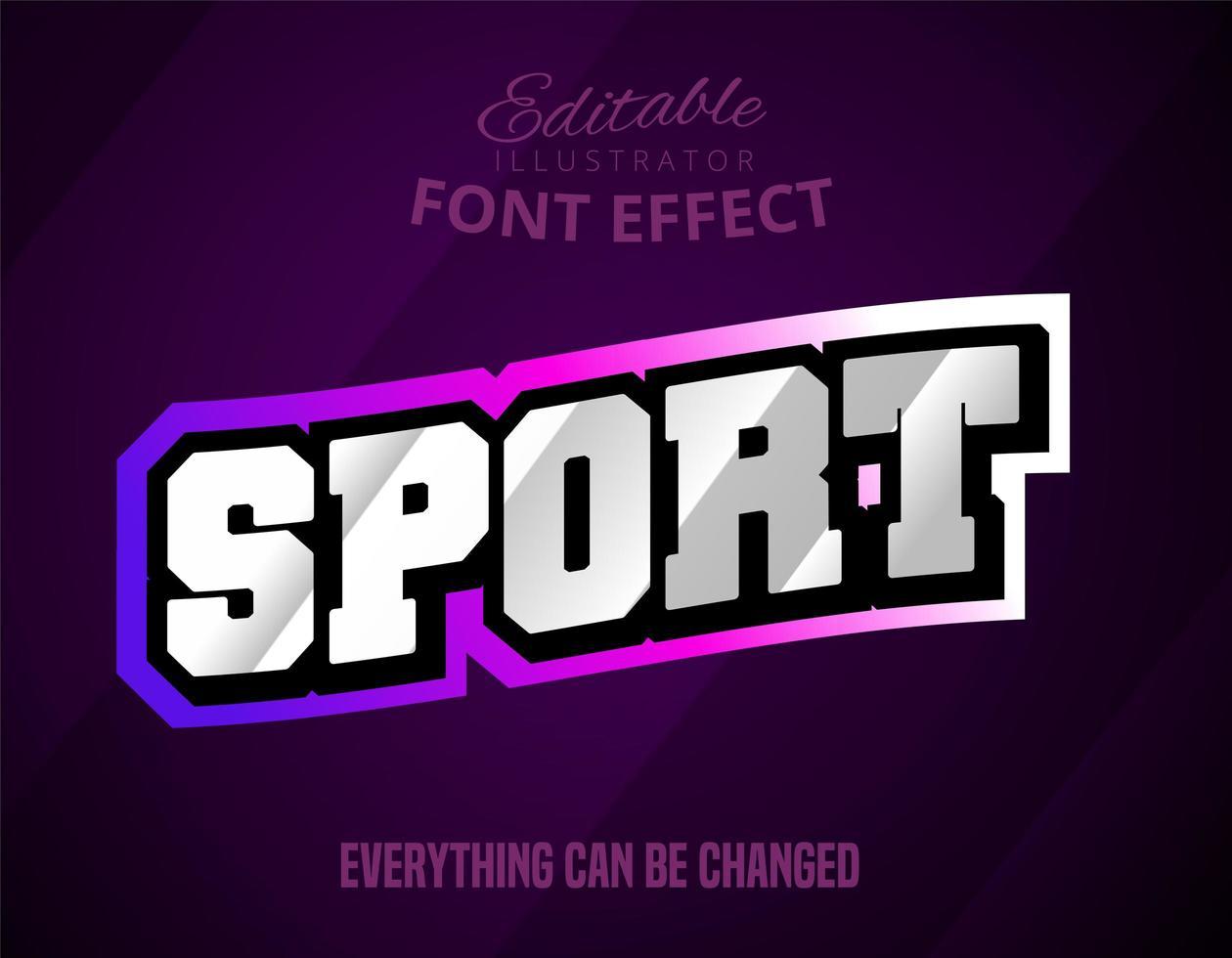 sporttext, redigerbar teckensnitteffekt vektor