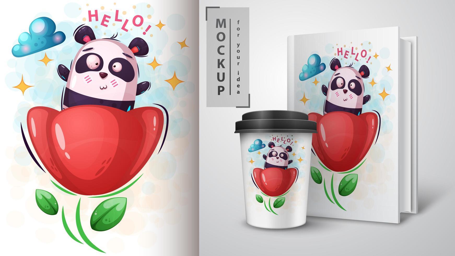 panda i blomma hej design vektor