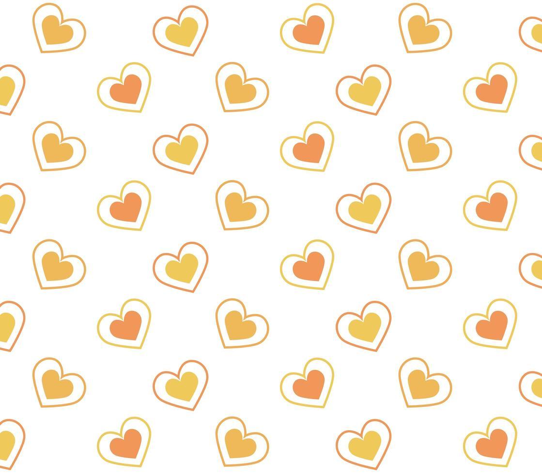 orange och gula hjärtan mönster vektor