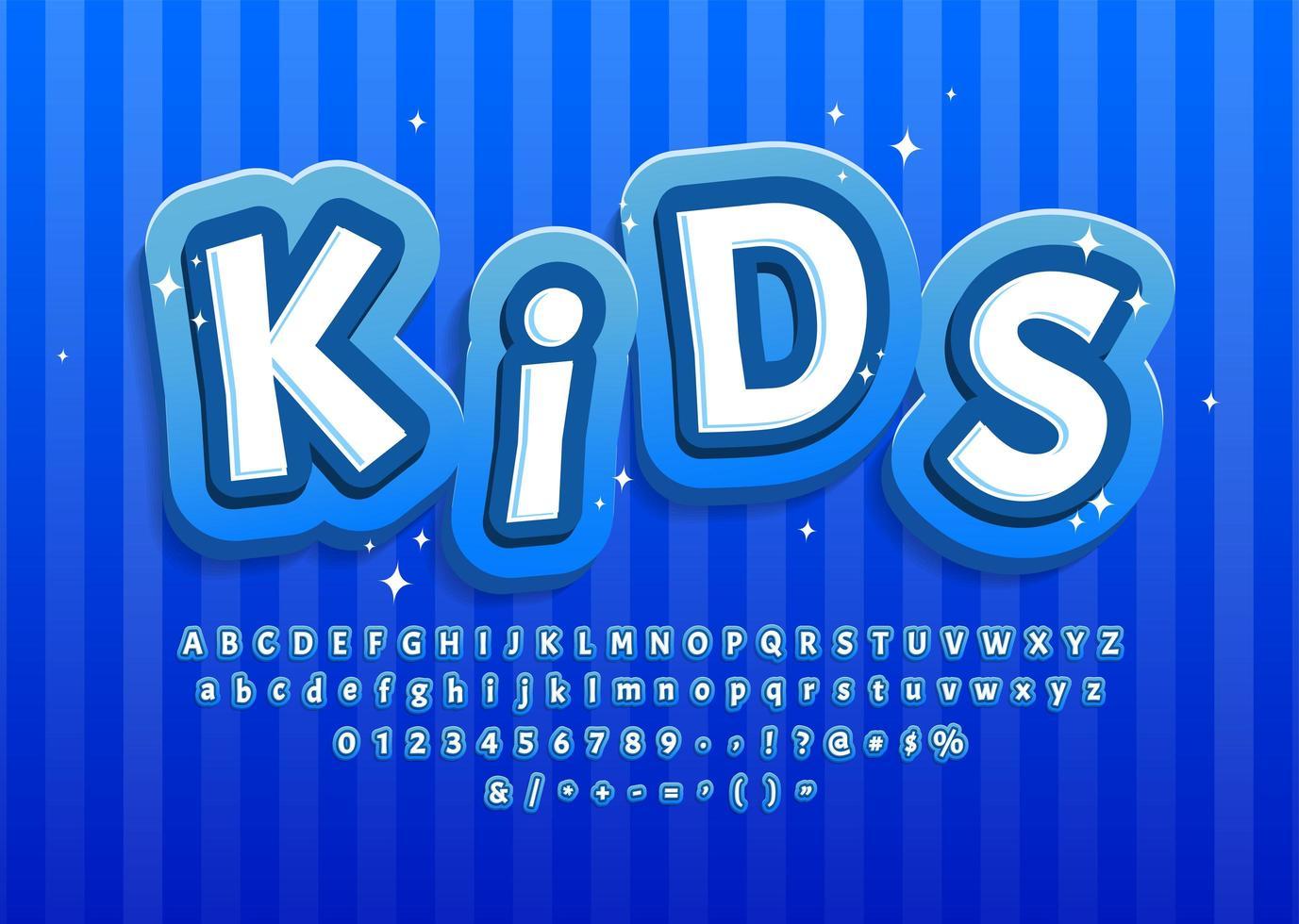 Cartoon Kid Alphabet in Blau für die Dekoration vektor