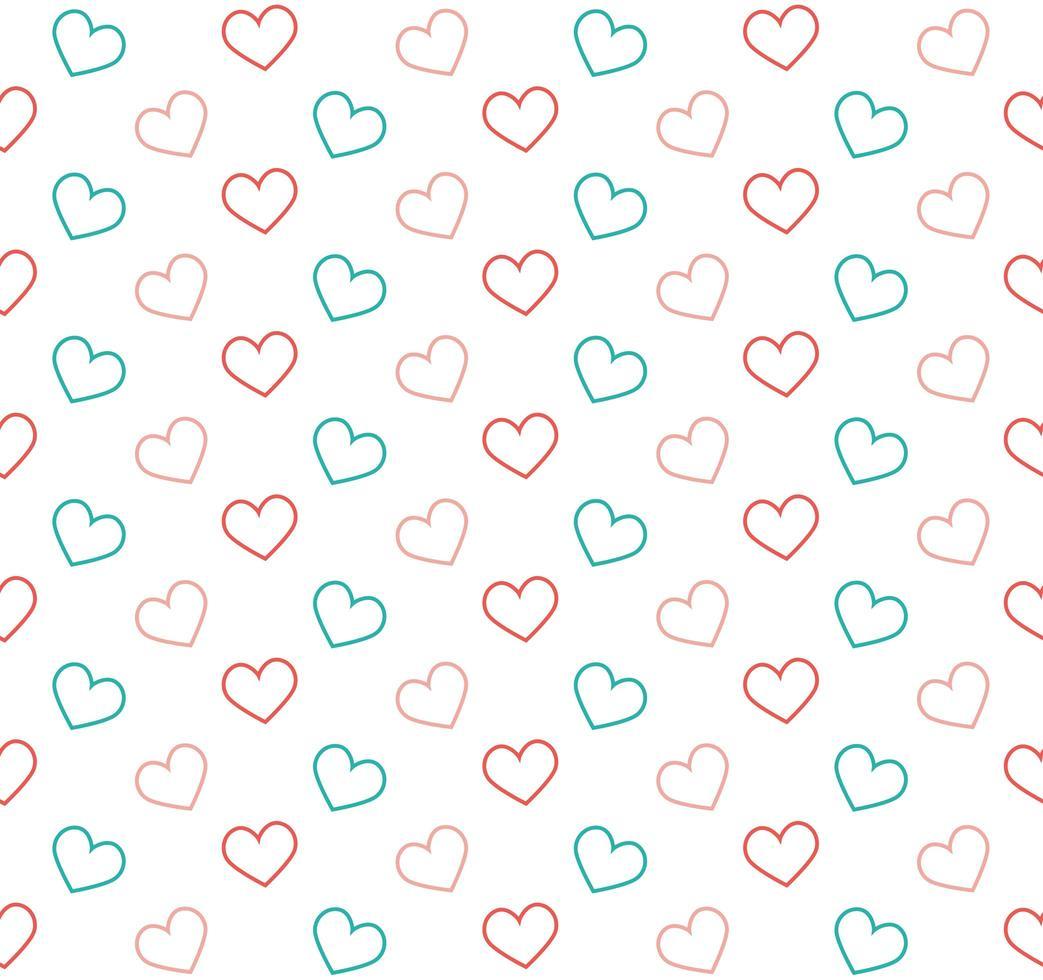rosa och blå kontur hjärtan bakgrund vektor