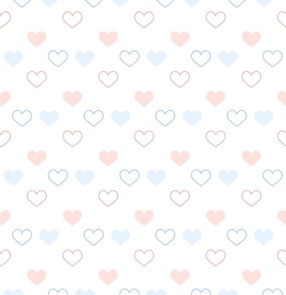 pastellblå och rosa kontur och solida hjärtan vektor
