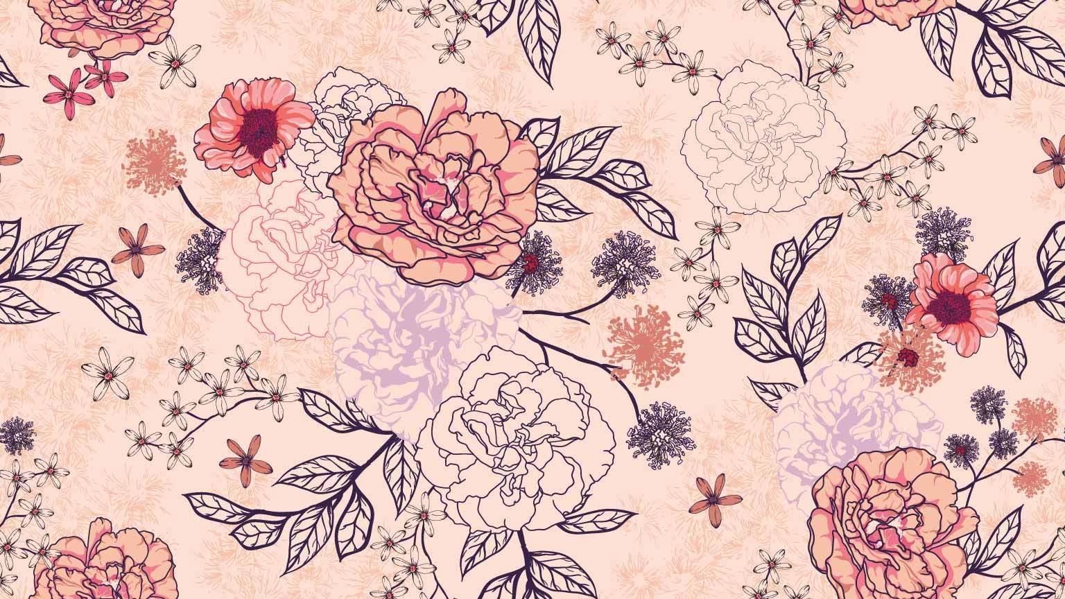 sömlösa mönster av rosbukett på pastell bakgrund vektor