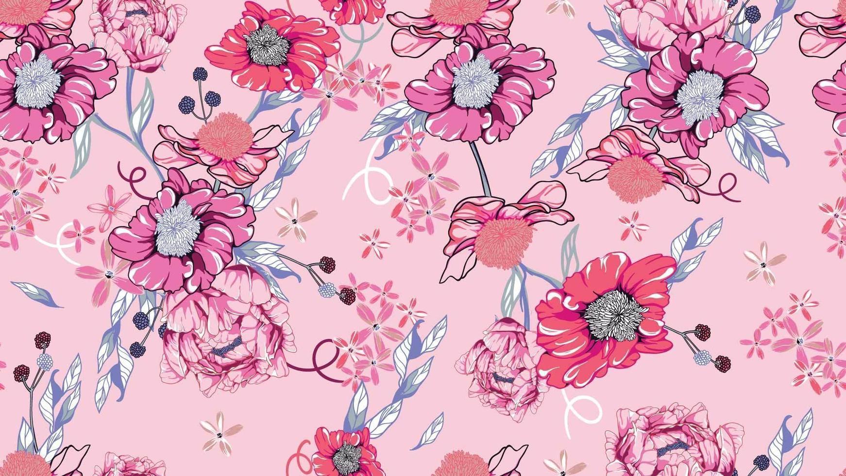sömlösa mönster av flora och pioner vektor