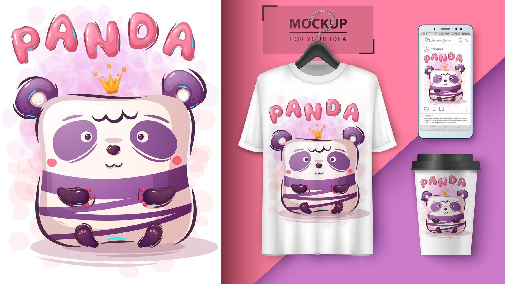söt panda affisch och merchandising vektor