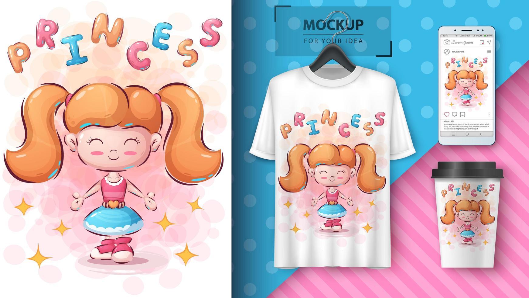 süßes Mädchenplakat und Merchandising vektor