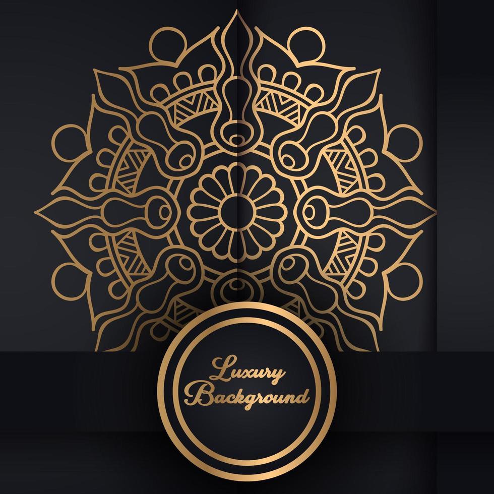 svart och guld mandala mönster vektor