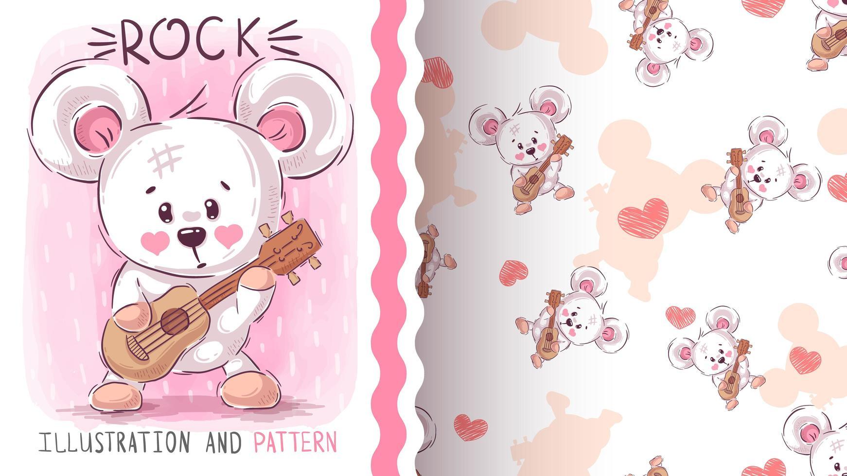 björn som spelar gitarr vektor