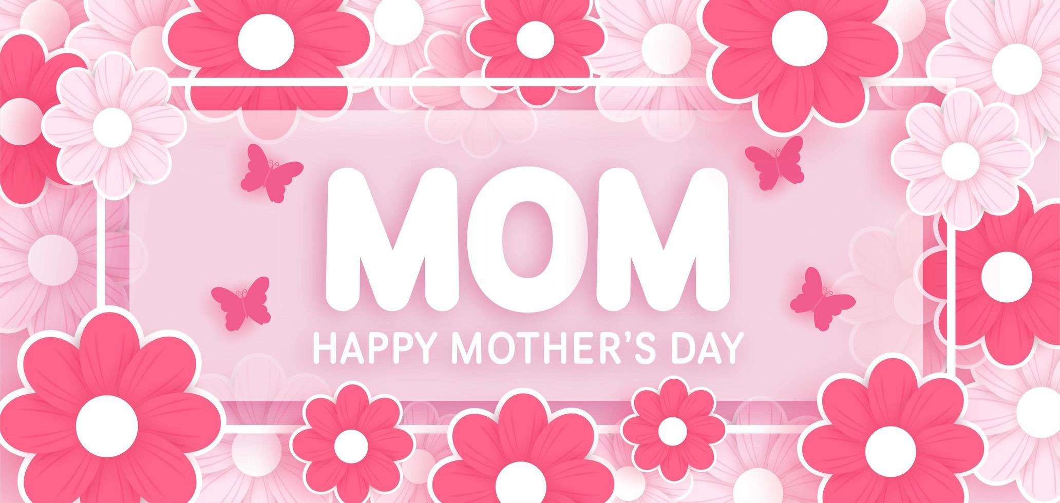 mammas dag banner med blommor i papperssnitt stil vektor