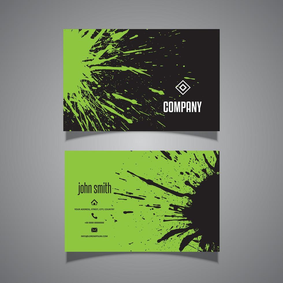 grönt och svart grunge splatter visitkort vektor