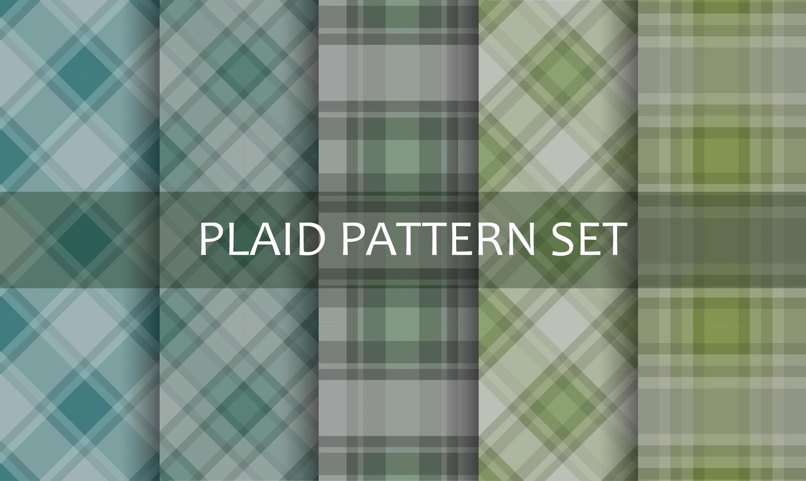 rutiga gröna och blå mönster set vektor