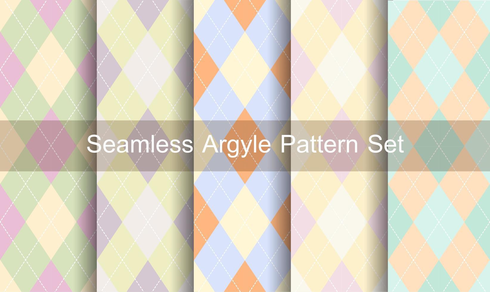 sömlös pastellfärger argyle mönsteruppsättning vektor