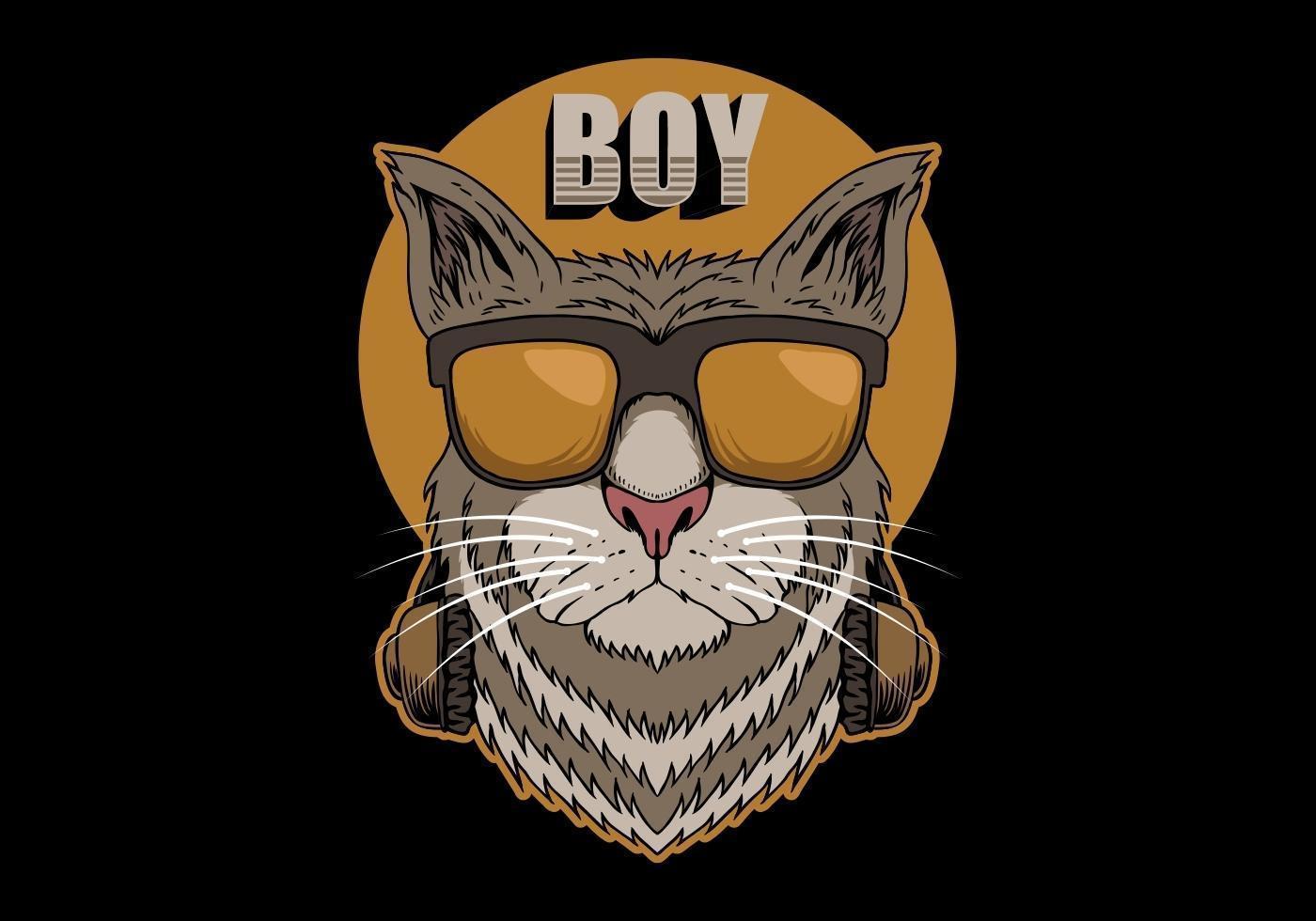 kattpojke med hörlurar vektor