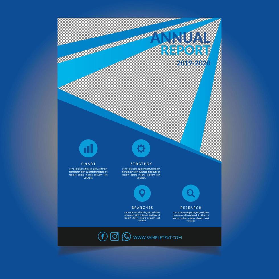 blå diagonal linje årsrapport malldesign vektor