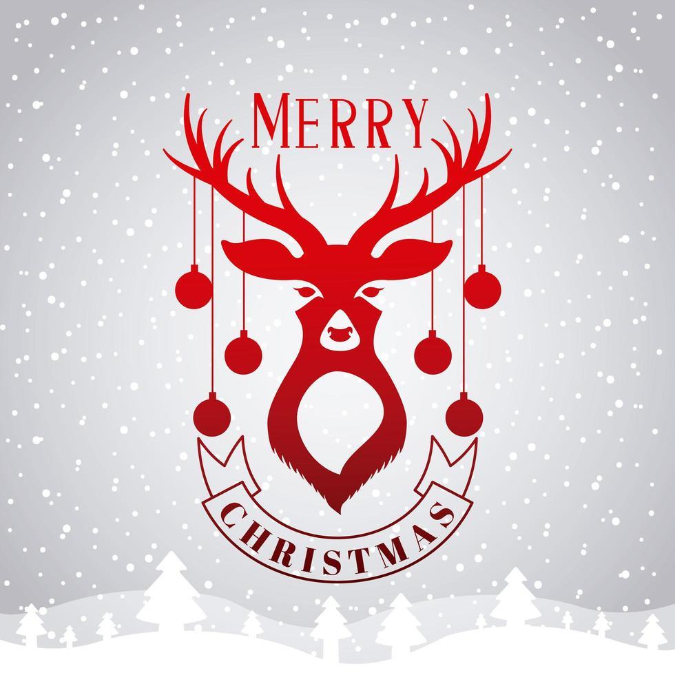 god julkort med hjortar och ornament vektor