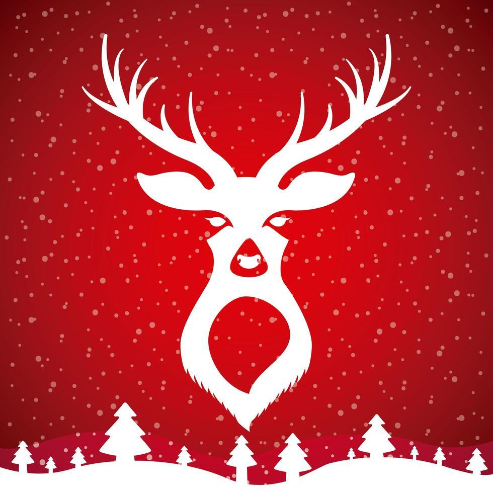 vit hjort design på rött vektor